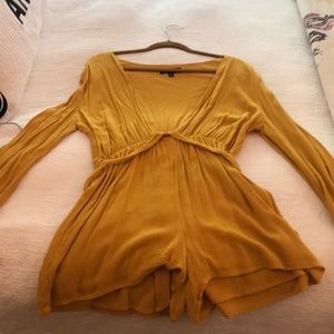 Yellow long sleeve lulus romper
